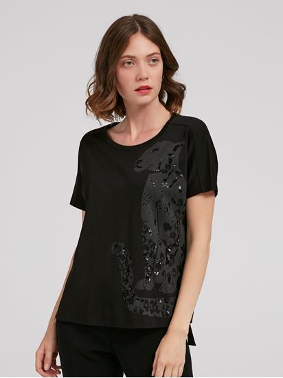 Image sur T-shirt imprimé et paillettes