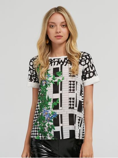 Image sur T-shirt mélange de matières et imprimé