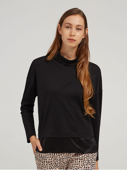 Bild von Shirt mit Rollkragen und Seiden-Einsatz