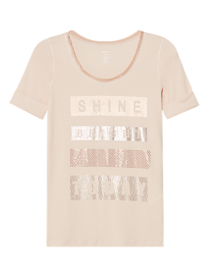 Image sur T-shirt imprimé et pierres de strass