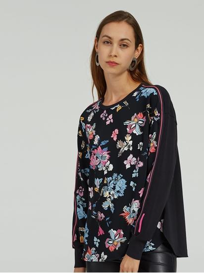 Bild von Shirt aus Material-Mix mit Blumen-Print