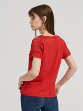 Image sur T-shirt avec dentelle