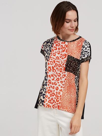 Bild von T-Shirt aus Material-Mix mit Muster