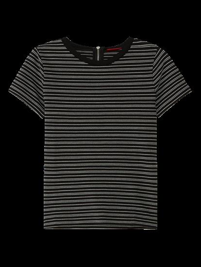 Image sur T-shirt à rayures et fermeture Eclair