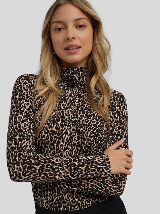 Image sur T-shirt léopard à col et boutonnage