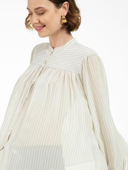 Image sur Blouse drapée  à rayures
