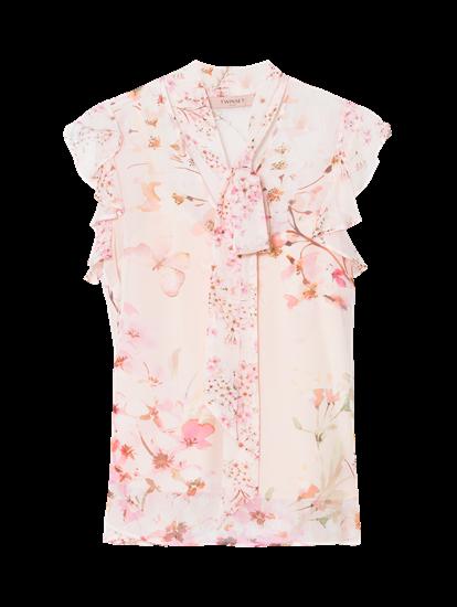 Bild von Blusentop mit Blumen-Print und Rüschen