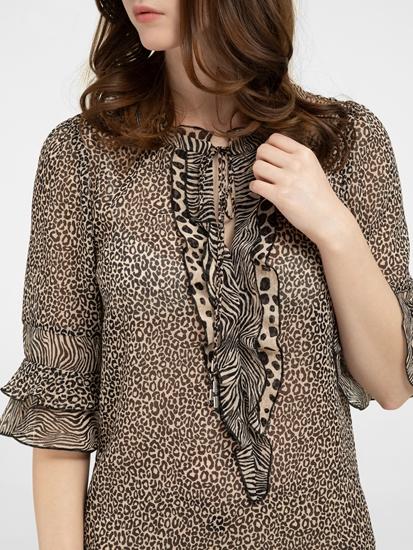 Image sur Blouse avec imprimé léopard et volants