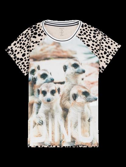 Image sur Blusenshirt aus Material-Mix mit Print