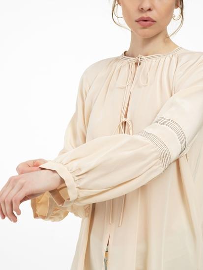 Image sur Blouse en soie avec coutures contrastes