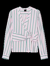 Bild von Wickelbluse mit Streifen und Bindegürtel