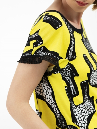 Image sur Robe jersey imprimé à franges