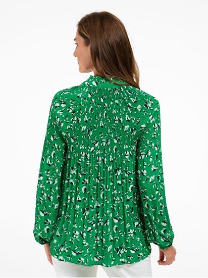 Image sur Bluse mit Plissee und Blumen-Print