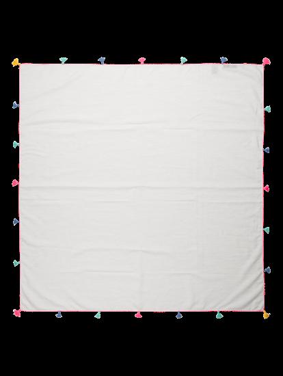 Bild von Sommerschal mit Streifen und Pompoms