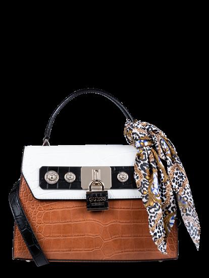 Bild von Handtasche in Krokodil-Optik mit Foulard